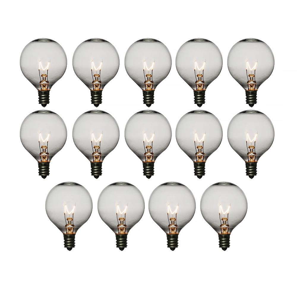 Clear 7-Watt Incandescent G50 Globe Light Bulbs, E12 Candelabra Base (14 PACK)
