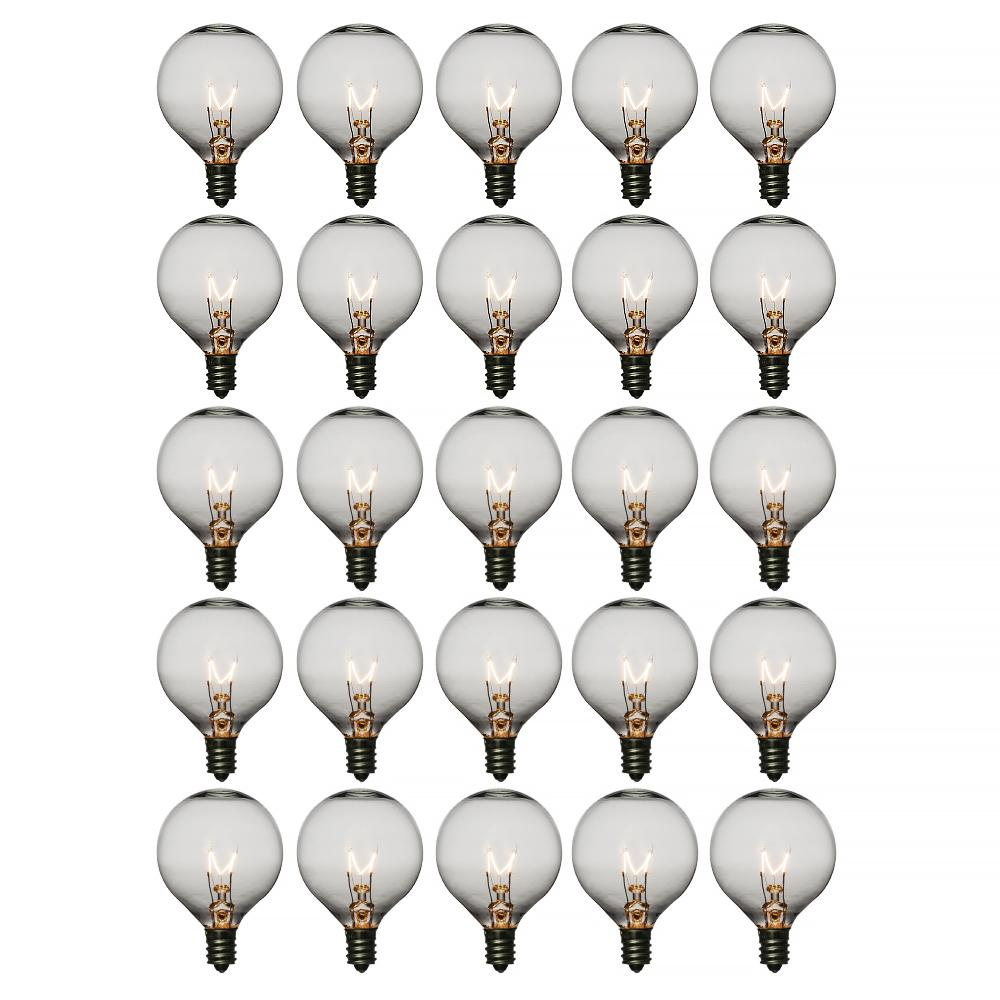 Clear 7-Watt Incandescent G50 Globe Light Bulbs, E12 Candelabra Base (28 PACK)