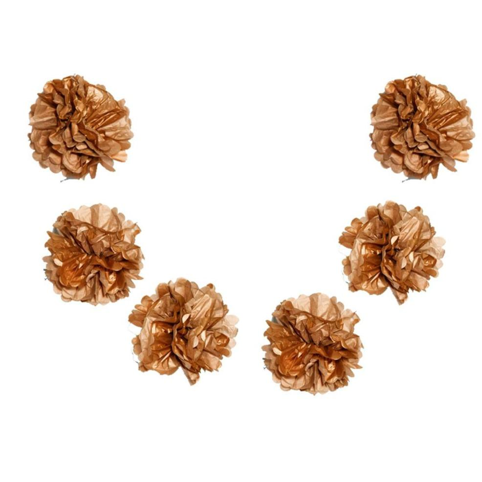 "EZ-Fluff 6"" Copper Hanging Tissue Paper Flower Pom Pom, Party Garland Decoration (100 PACK) - AsianImportStore.com - B2B Wholesale Lighting and Décor"