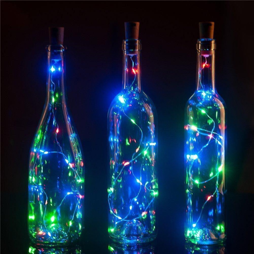 3Ft Battery Powered 20 LED RGB Cork Wine Bottle Lights DIY Fairy String Lights Table Centerpiece Decoration