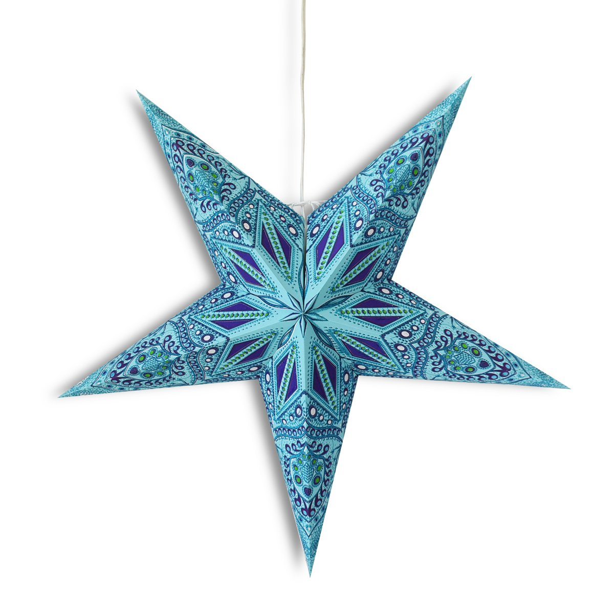 "24"" Turquoise Crystal Glitter Paper Star Lantern, Hanging Wedding & Party Decoration - AsianImportStore.com - B2B Wholesale Lighting and Decor"