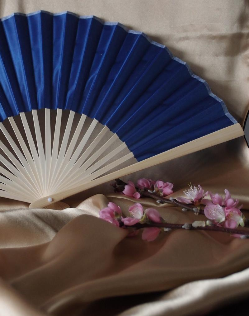 "9"" Dark Blue Silk Hand Fans for Weddings (10 Pack) - AsianImportStore.com - B2B Wholesale Lighting and Decor"