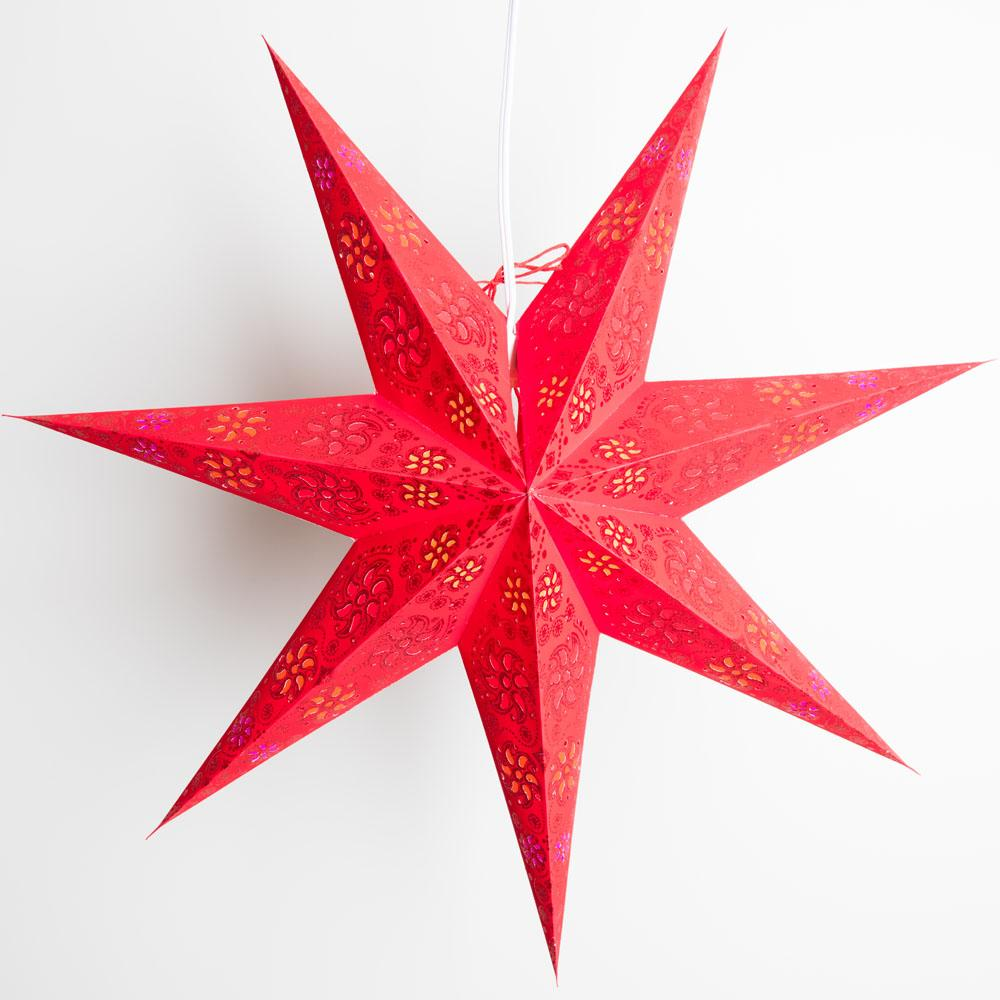 "BLOWOUT 24"" 7 Point Dark Red Winds Glitter Paper Star Lantern, Hanging Decoration"