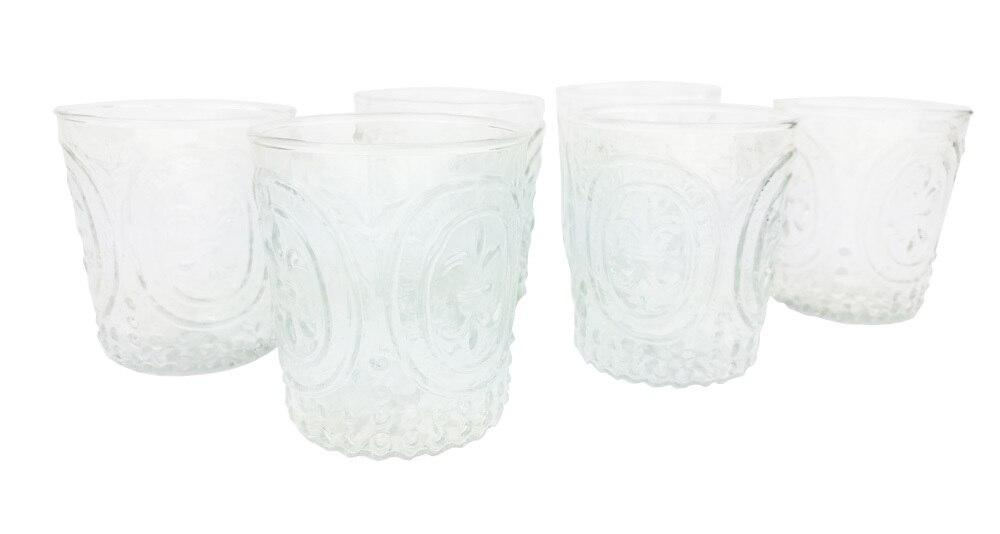6 Pack | Small Fleur de Lys Juice/Wine Glass Drinkware (6 Piece Set, Clear, Holds Approx 3.5 oz)  - For Home Decor, Parties, and Wedding Decorations - AsianImportStore.com - B2B Wholesale Lighting and Decor