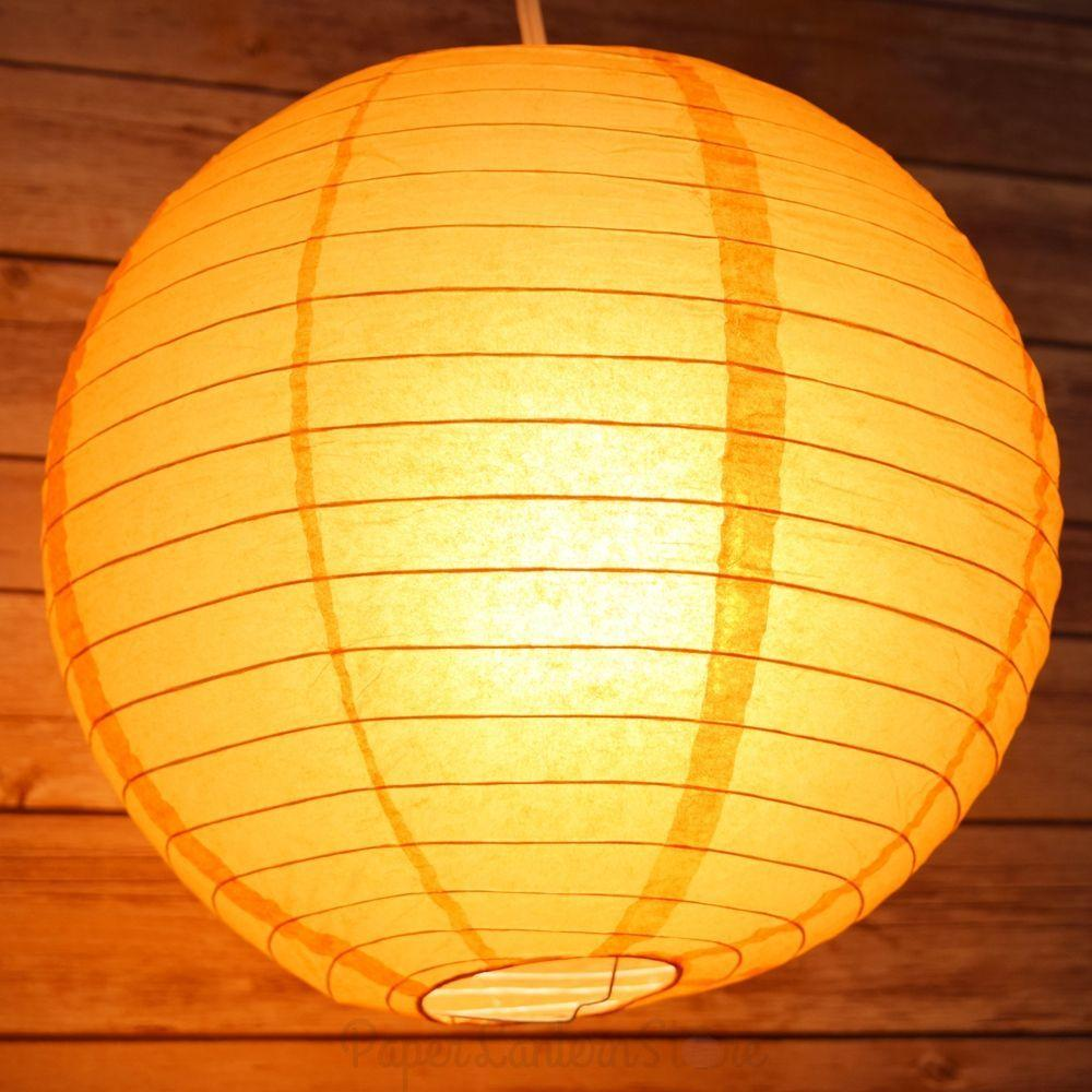 "4"" Papaya Round Paper Lantern, Even Ribbing, Hanging Decoration (10 PACK)"