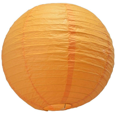 "24"" Papaya Round Paper Lantern, Even Ribbing, Chinese Hanging Wedding & Party Decoration"