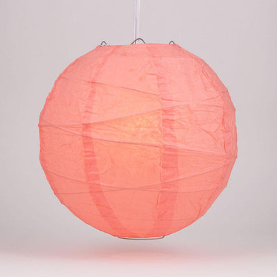 "24"" Roseate / Pink Coral Round Paper Lantern, Crisscross Ribbing, Chinese Hanging Wedding & Party Decoration"