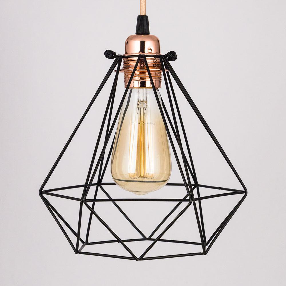 Geometric Diamond Vintage Edison Light Bulb Cage for Pendant Lights *Bulb Cage Only
