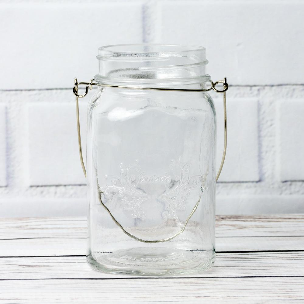 (24-Pack Master Case) Fantado Regular Mouth Clear Mason Jar with Handle, 16oz / 1 Pint