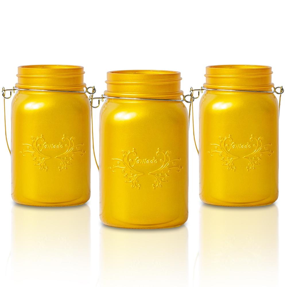 BLOWOUT (24-Pack Master Case) Fantado Regular Mouth Frosted Yellow Gold Color Mason Jar w/ Handle, 16oz / 1 Pint
