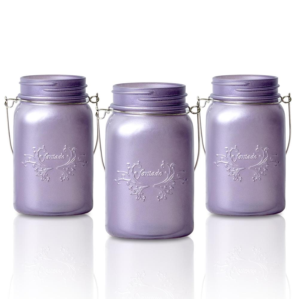 (24-Pack Master Case) Fantado Regular Mouth Frosted Wisteria Purple Color Mason Jar w/ Handle, 16oz / 1 Pint - AsianImportStore.com - B2B Wholesale Lighting and Decor