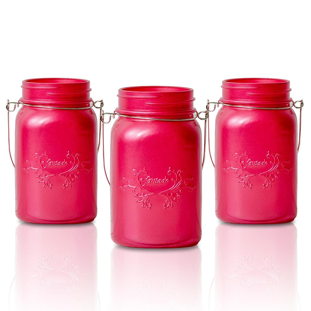 (24-Pack Master Case) Fantado Regular Mouth Frosted Fuchsia / Hot Pink Color Mason Jar w/ Handle, 16oz / 1 Pint - AsianImportStore.com - B2B Wholesale Lighting and Decor