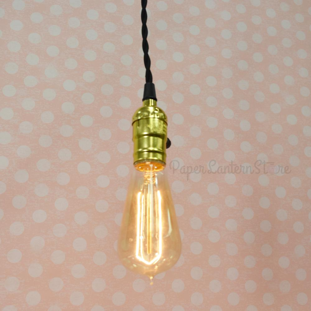 Single Gold Socket Vintage-Style Pendant Light Cord w/ Dimmer, 11 FT Twisted Black Cloth Cord - Electrical Swag Light Kit
