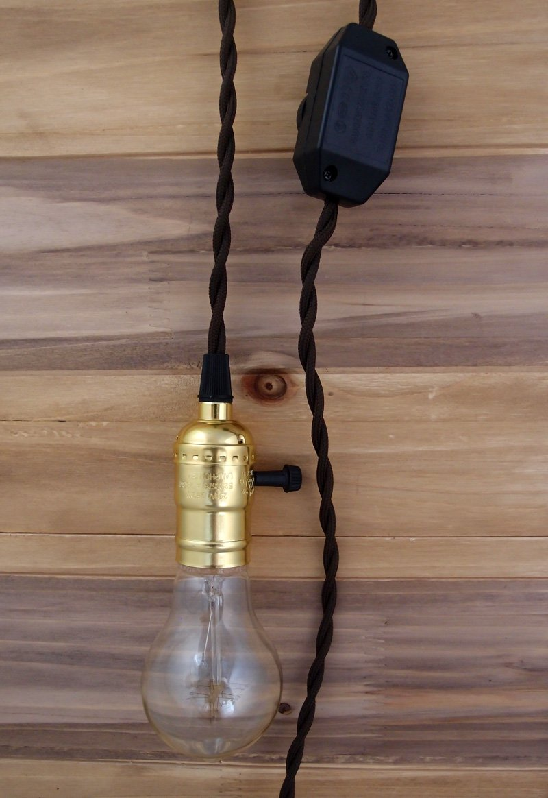 BLOWOUT Single Gold Socket Vintage-Style Pendant Light Cord w/ Dimmer, 11 FT Twisted Brown Cloth Cord - Electrical Swag Light Kit