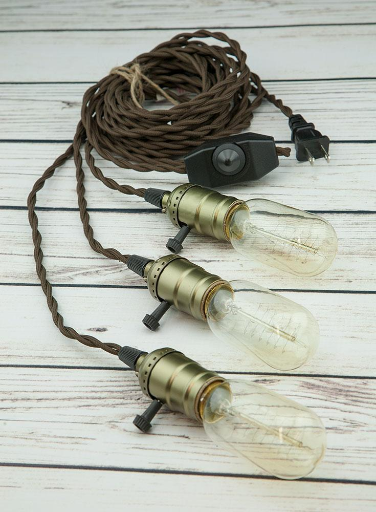 Triple Copper Socket Vintage-Style Pendant Light Cord w/ Dimmer, 17FT Twisted Brown Cloth Cord - Electrical Swag Light Kit