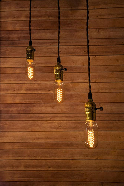 Triple Gold Socket Vintage-Style Pendant Light Cord w/ Dimmer Switch Switch, 17FT Twisted Brown Cloth Cord - Electrical Swag Light Kit - AsianImportStore.com - B2B Wholesale Lighting and Decor