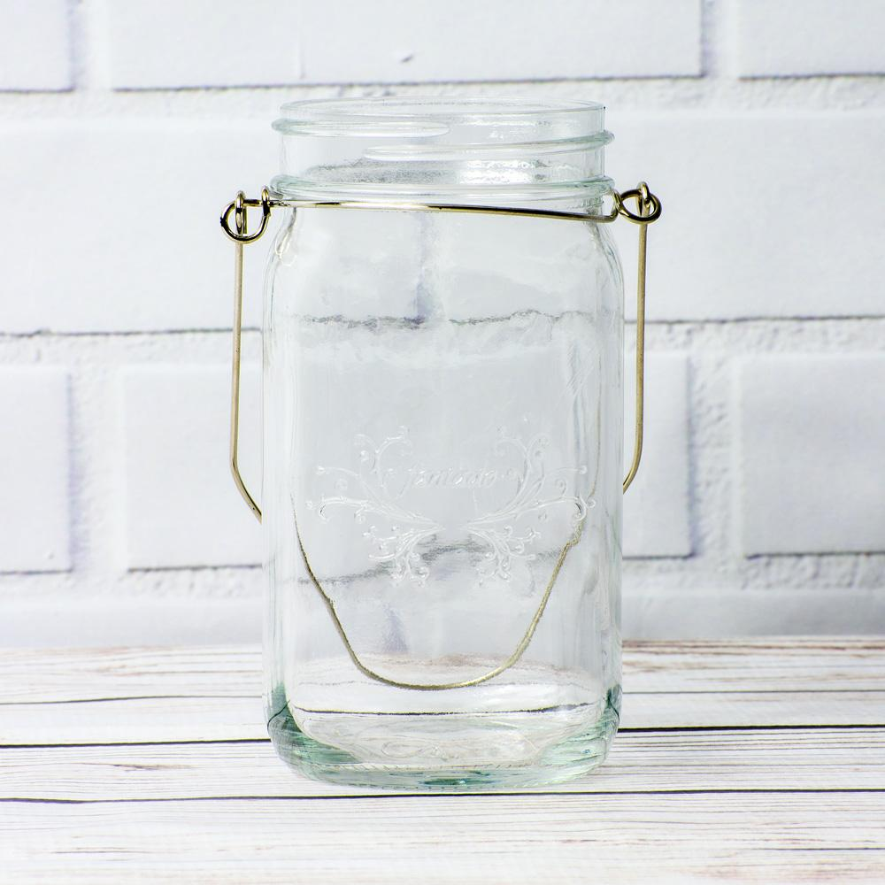 (24-Pack Master Case) Fantado Wide Mouth Clear Mason Jar w/ Handle, 32oz