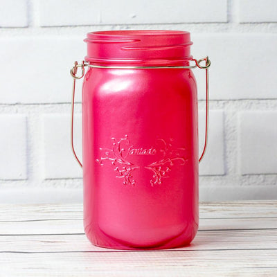 (24-Pack Master Case) Fantado Wide Mouth Frosted Fuchsia / Hot Pink Mason Jar w/ Handle, 32oz - AsianImportStore.com - B2B Wholesale Lighting and Decor