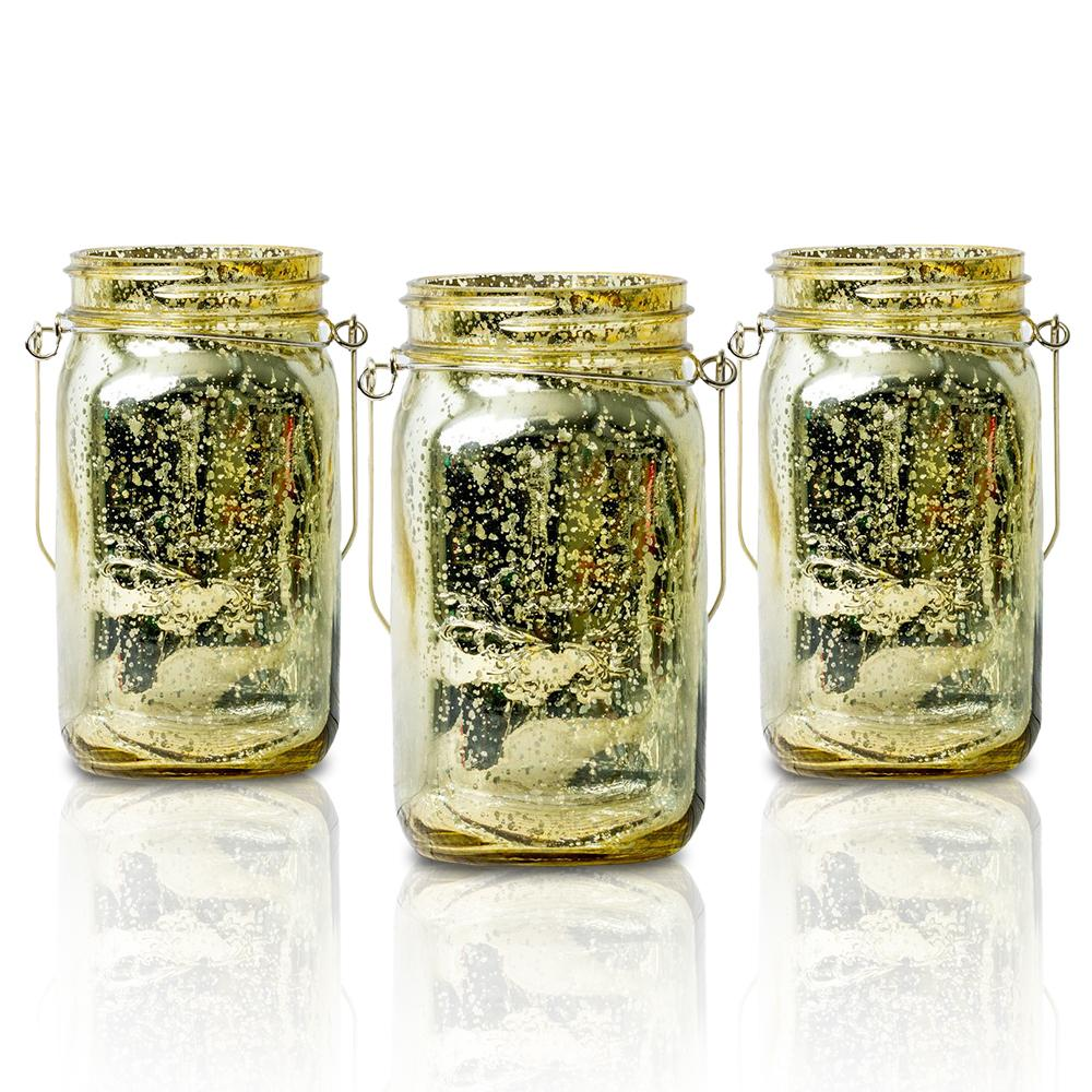 (24-Pack Master Case) Fantado Wide Mouth Gold Mercury Glass Mason Jar w/ Handle, 32oz
