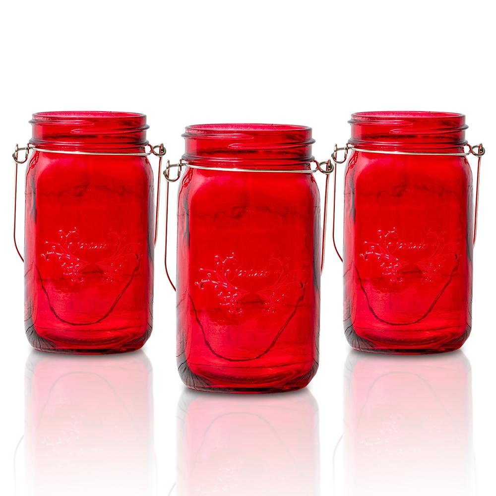(24-Pack Master Case) Fantado Wide Mouth Ruby Red Color Mason Jar w/ Handle, 32oz