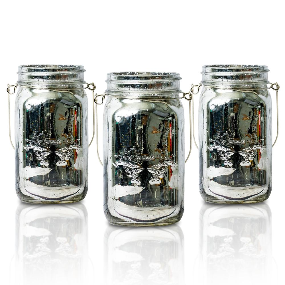 (24-Pack Master Case) Fantado Wide Mouth Silver Mercury Glass Mason Jar w/ Handle, 32oz