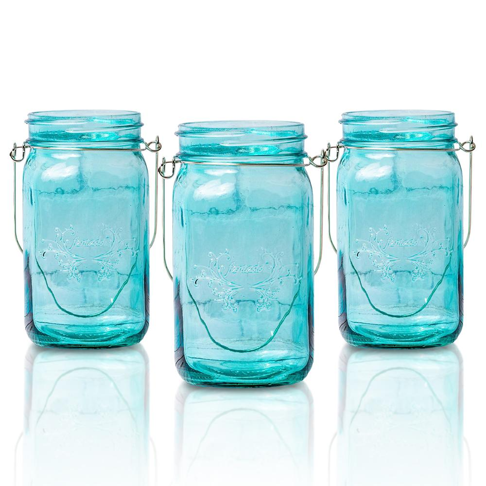 (24-Pack Master Case) Fantado Wide Mouth Water Blue Mason Jar w/ Handle, 32oz - AsianImportStore.com - B2B Wholesale Lighting and Decor