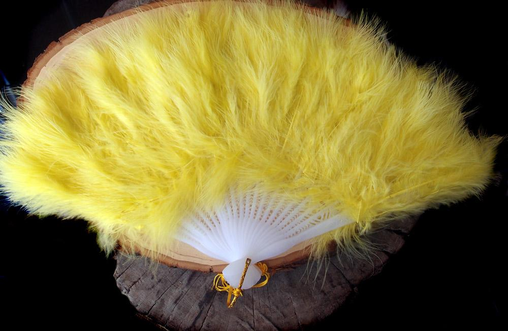 "BLOWOUT 11"" Yellow Marabou Feather Hand Fan for Weddings"