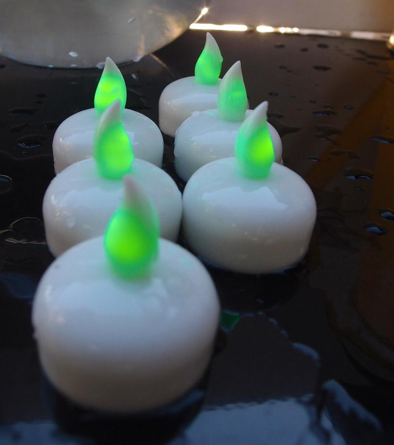 Floating Waterproof Flameless LED Tea Light Candle - Green (6 PACK) - AsianImportStore.com - B2B Wholesale Lighting and Decor