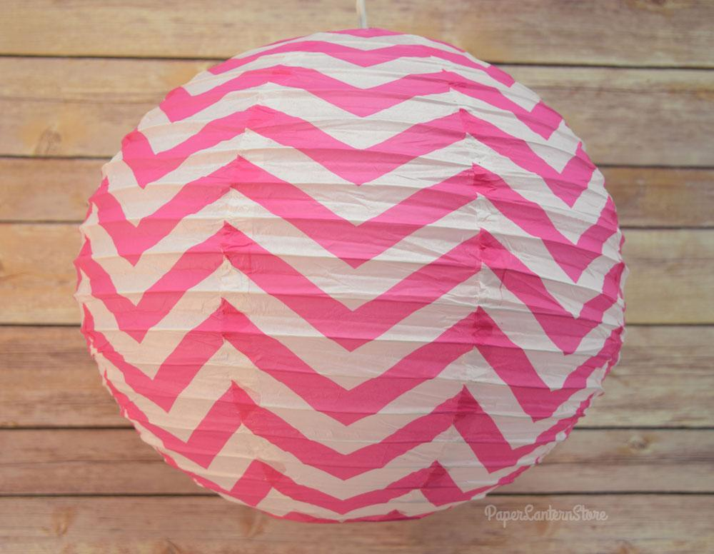 "14"" Fuchsia Chevron Paper Lantern, Even Ribbing, Hanging Decoration (50 PACK) - AsianImportStore.com - B2B Wholesale Lighting and Décor"