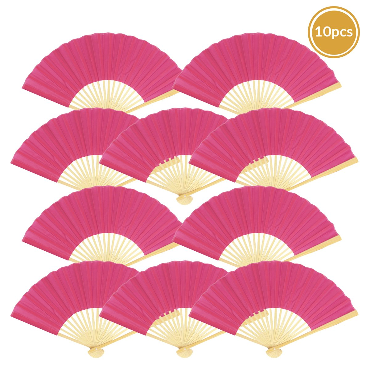 "9"" Fuchsia / Hot Pink Silk Hand Fans for Weddings (10 Pack)"