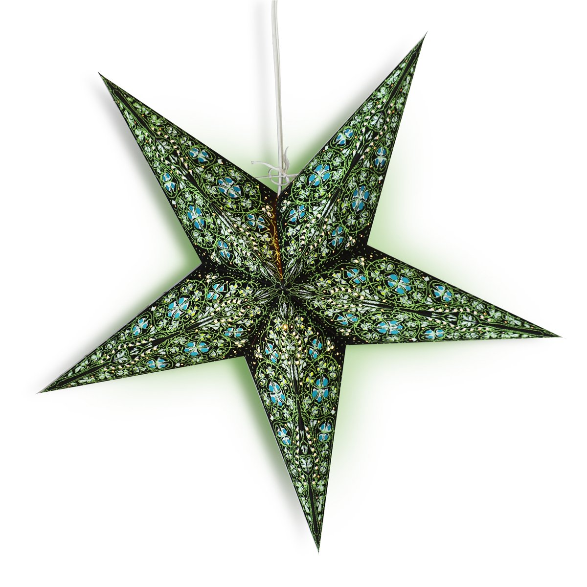 "24"" Green / Black Garden Paper Star Lantern, Hanging Wedding & Party Decoration"
