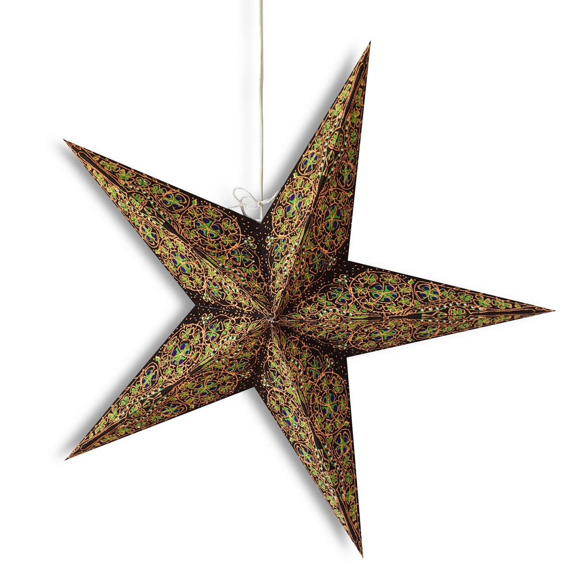 "24"" Brown / Gold Garden Paper Star Lantern, Hanging Wedding & Party Decoration"