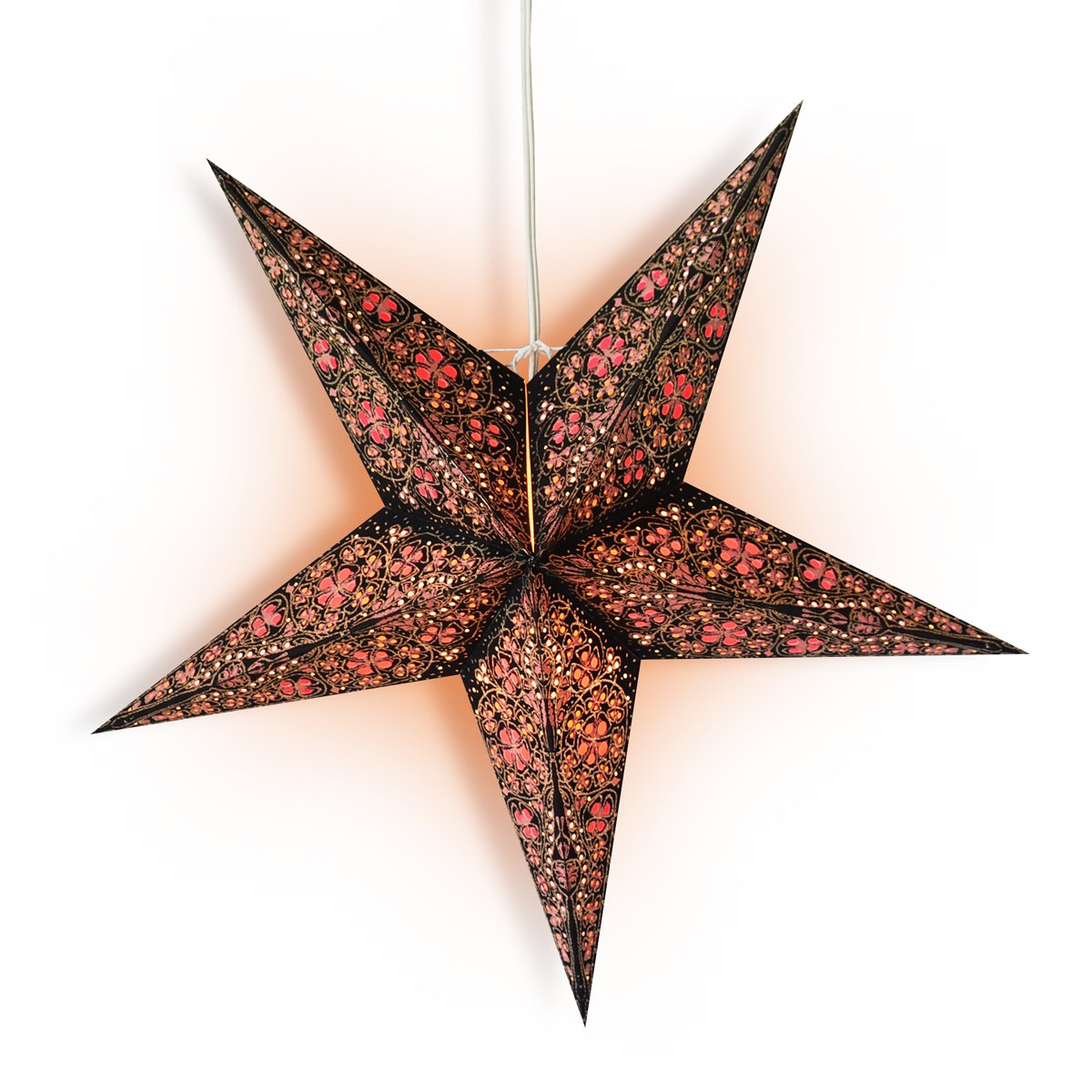 "24"" Black / Gold Garden Paper Star Lantern, Hanging Wedding & Party Decoration"