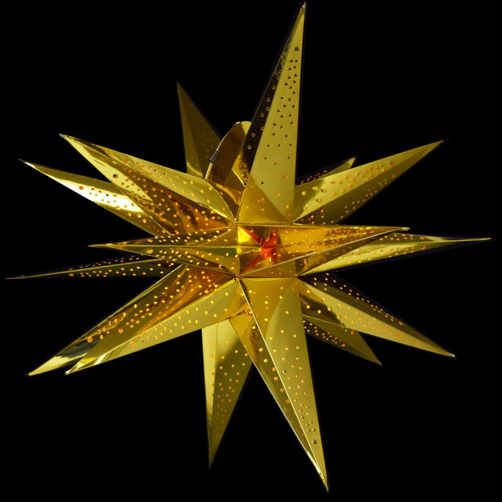 "24"" Moravian Glossy Gold Multi-Point Paper Star Lantern Lamp, Hanging"