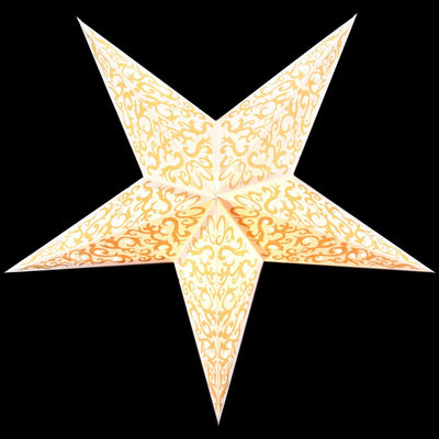 "24"" Gold Bramble Glitter Paper Star Lantern, Hanging - AsianImportStore.com - B2B Wholesale Lighting and Decor"