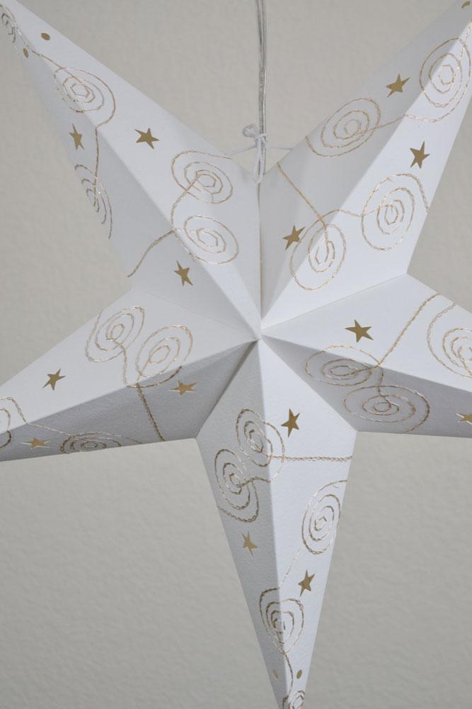 "(Discontinued) 24"" Gold & White Swirl Embroidery Paper Star Lantern, Chinese Hanging Wedding & Party Decoration"