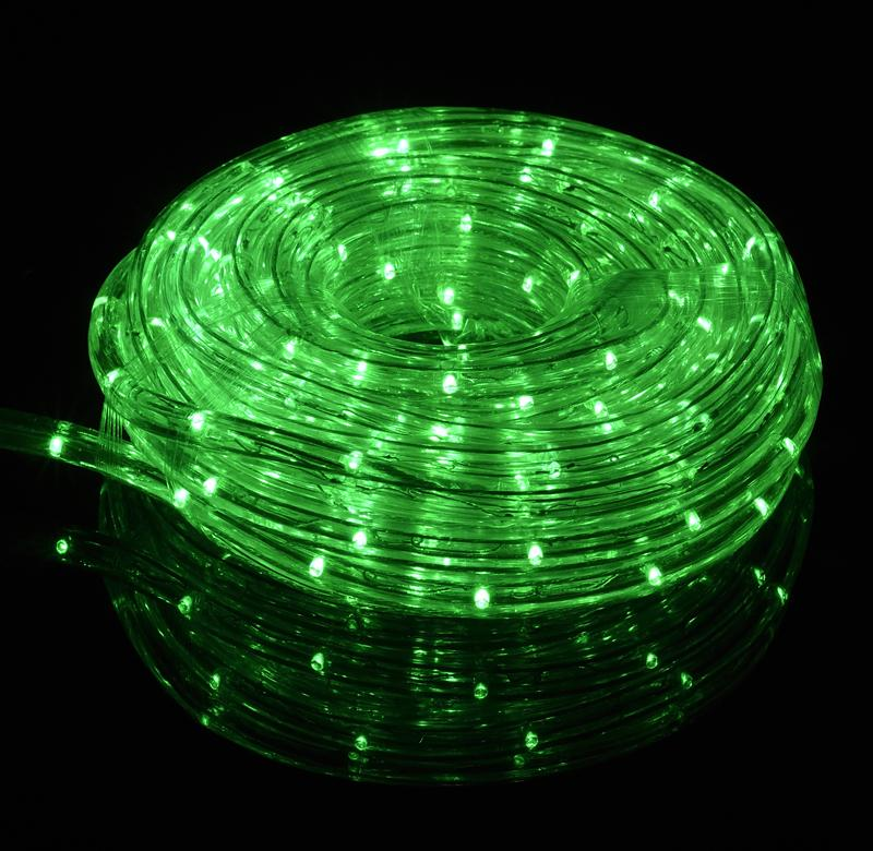 Green Outdoor LED Fairy String Rope Light, 33 FT, Clear Tube, AC Plug-In