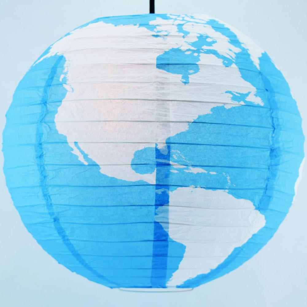 "14"" Greater Detailed World Earth Globe Paper Lantern Hanging Classroom & Party Decoration"