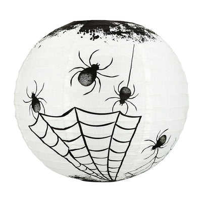"14"" Halloween Spiders Spooky Bug Webs Paper Lantern, Hanging Decoration"