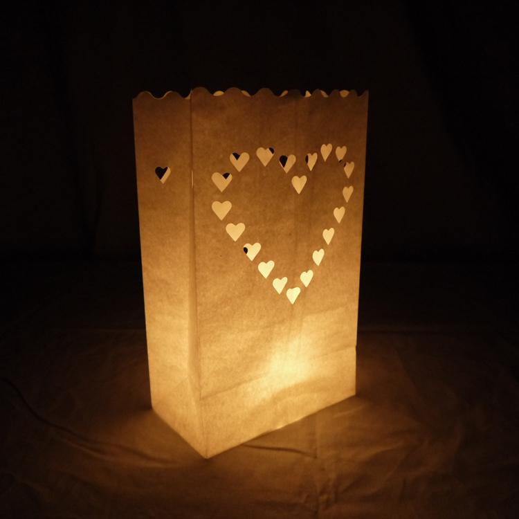 Heart Paper Luminaries / Luminary Lantern Bags Path Lighting (10 PACK)