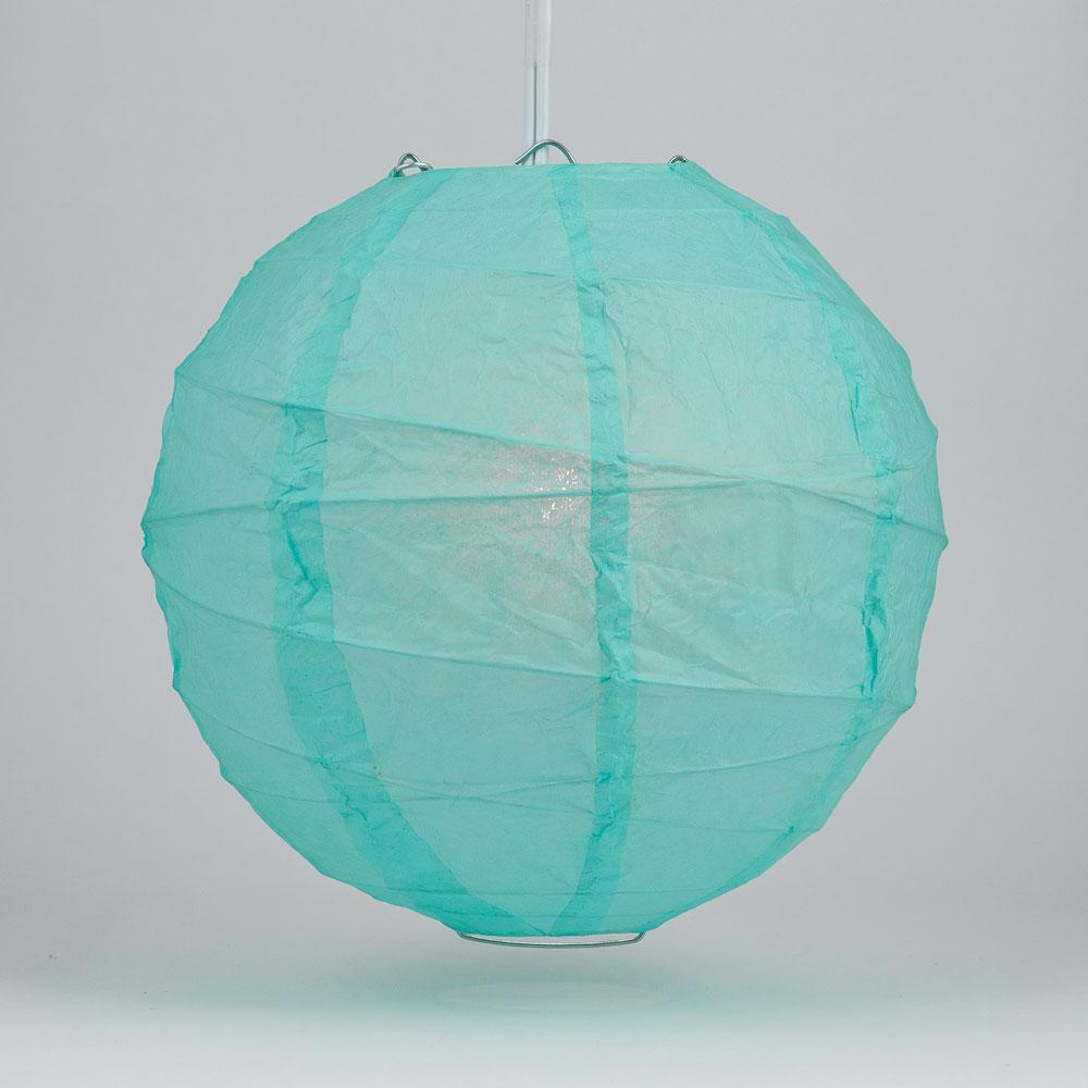 "12"" Water Blue Round Paper Lantern, Crisscross Ribbing, Chinese Hanging Wedding & Party Decoration"