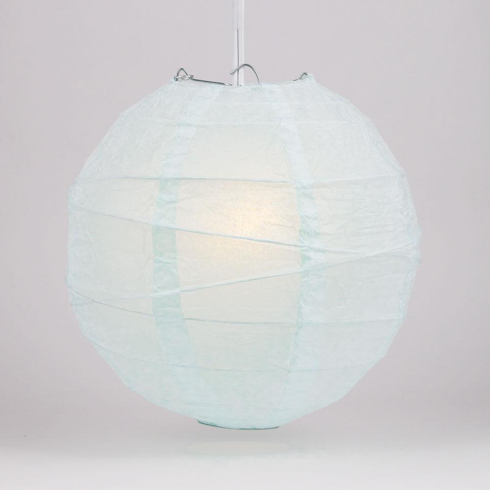 "10"" Arctic Spa Blue Round Paper Lantern, Irregular Ribbed, Chinese Hanging Wedding & Party Decoration"