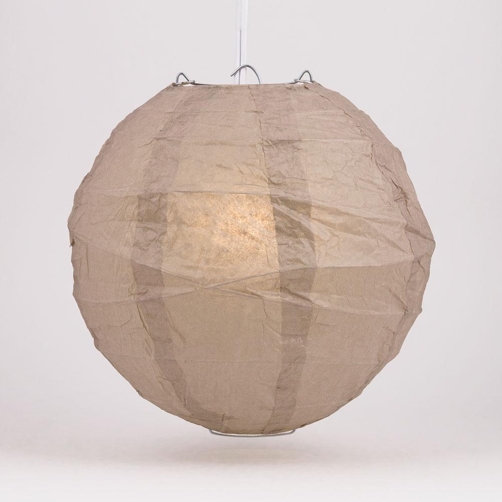 "12"" Mocha / Light Brown Round Paper Lantern, Crisscross Ribbing, Chinese Hanging Wedding & Party Decoration"