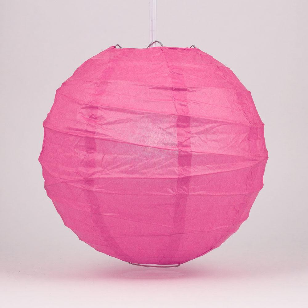 "24"" Fuchsia / Hot Pink Round Paper Lantern, Crisscross Ribbing, Chinese Hanging Wedding & Party Decoration"