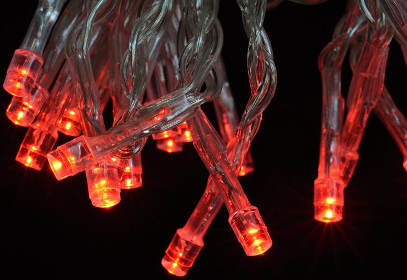 BLOWOUT 30 LED Red Mini String Lights, 10.8 FT Clear Cord, Battery Operated Powered