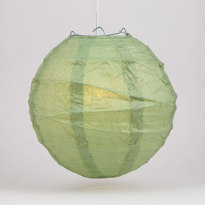 "24"" Sea Green Round Paper Lantern, Crisscross Ribbing, Chinese Hanging Wedding & Party Decoration - AsianImportStore.com - B2B Wholesale Lighting and Decor"