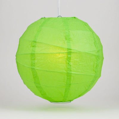 "24"" Grass Greenery Round Paper Lantern, Crisscross Ribbing, Chinese Hanging Wedding & Party Decoration"