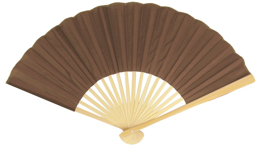 "BLOWOUT 9"" Brown Silk Hand Fans for Weddings (10 PACK)"