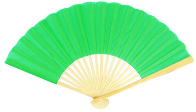 "BLOWOUT 9"" Light Lime Green Silk Hand Fans for Weddings (10 PACK)"
