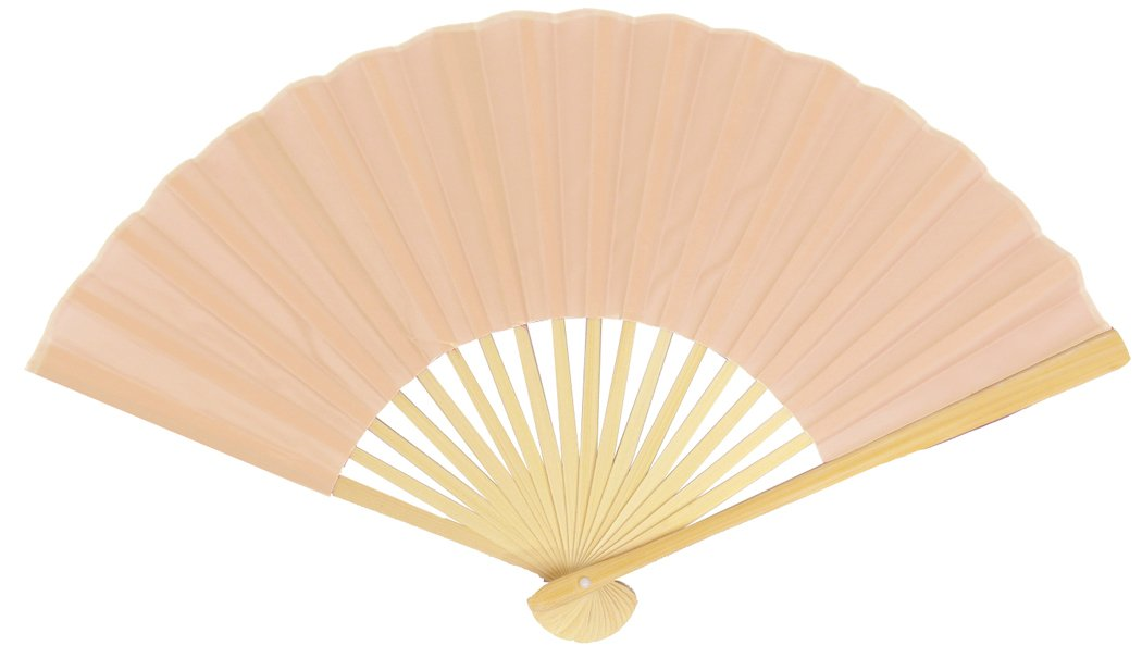 "9"" Nude Silk Hand Fans for Weddings (10 Pack)"